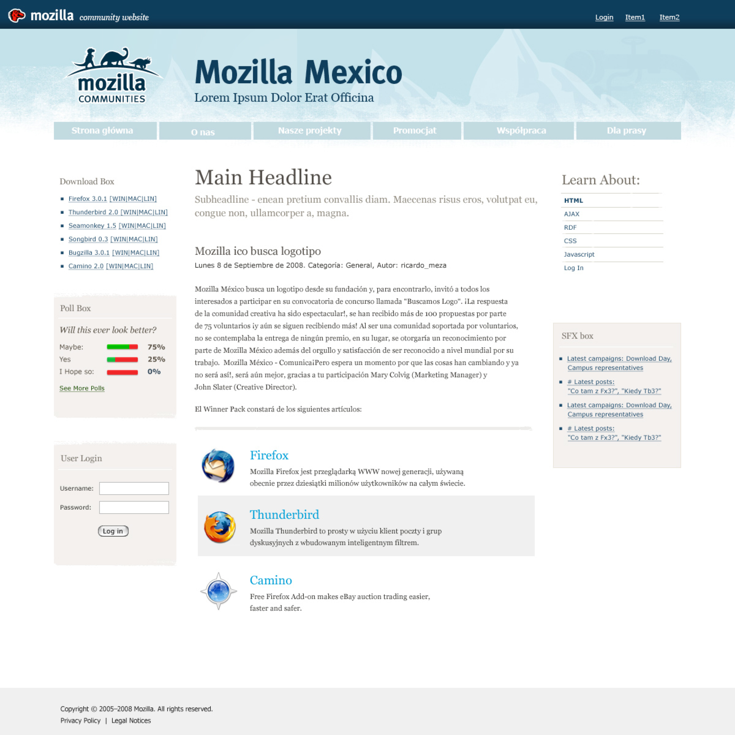 Mozilla Community Theme, screen1